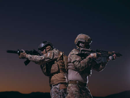 soldiers squad in night mission Reklamní fotografie