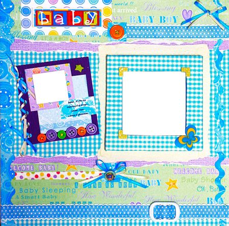 a hand crafted colorful scrapbook frame Stock Photo