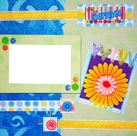 crafting: a hand crafted colorful scrapbook frame Stock Photo