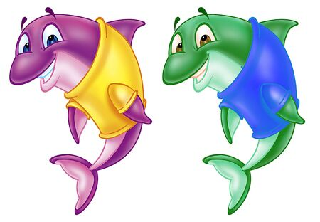cute dolphins Stock Photo