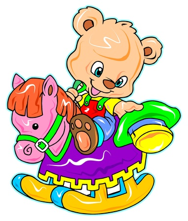 a digitally illustrated cute bear riding a rocking horse
