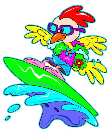 a digitally illustrated cute and colorful surfing chicken
