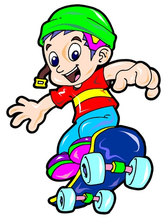 cute cartoon boy: active boy
