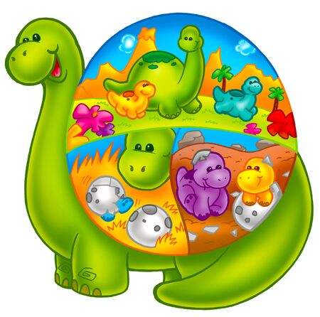 cute and colorful dinosaur
