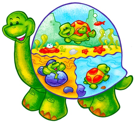 a digitally illustrated cute and colorful turtle Stock Photo