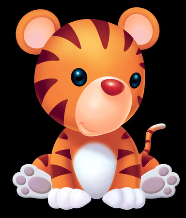 baby drawing: cute baby tiger Stock Photo