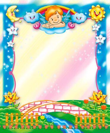 clouds cartoon: cute kids frame