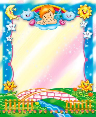 nubes caricatura: Marco de niños lindos Foto de archivo