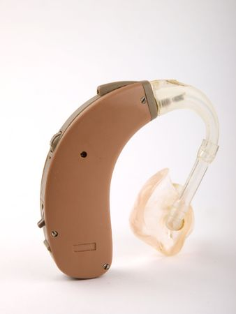 Hearing aids close up on white background