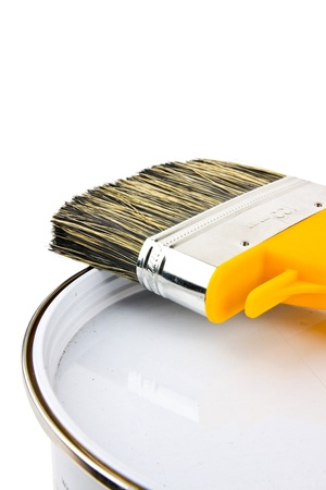 paint  container: paint brush and paint bucket Stock Photo