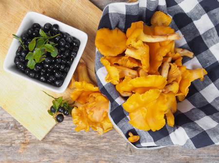 Blueberries and chanterelles