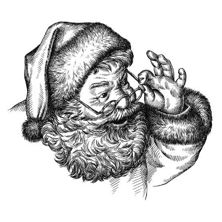old man portrait: engrave isolated Santa Claus portrait illustration sketch. linear art