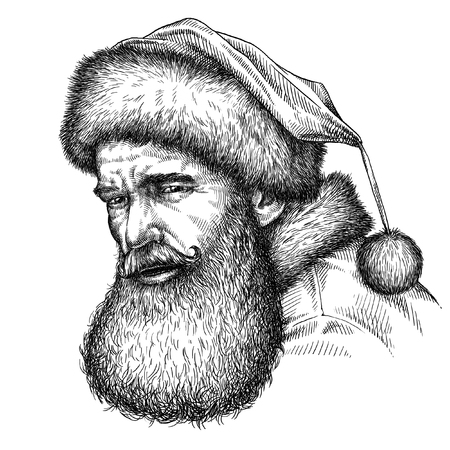 new year's cap: engrave isolated Santa Claus portrait illustration sketch. linear art