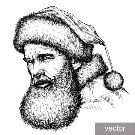 illustration isolated: engrave isolated vector Santa Claus portrait illustration sketch. linear art Illustration