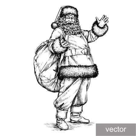 old man portrait: engrave isolated vector Santa Claus portrait illustration sketch. linear art Illustration
