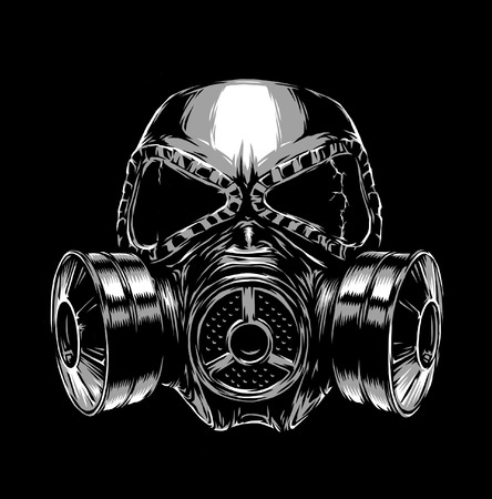 biological warfare: engrave isolated gas mask illustration sketch. linear art Stock Photo