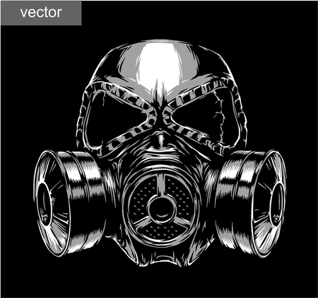gas mask: engrave isolated gas mask vector illustration sketch. linear art