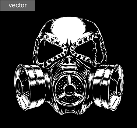 the air attack: engrave isolated gas mask vector illustration sketch. linear art