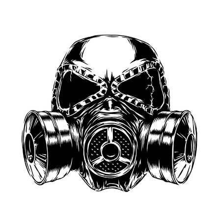 engrave isolated gas mask illustration sketch. linear art Stock Photo