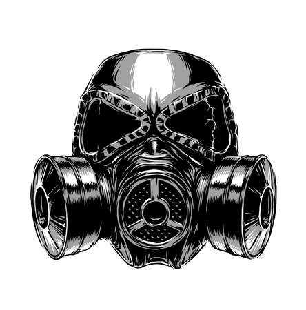 the air attack: engrave isolated gas mask illustration sketch. linear art Stock Photo