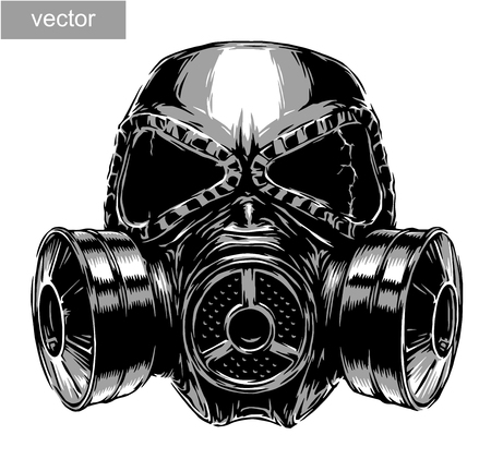 army gas mask: engrave isolated gas mask vector illustration sketch. linear art