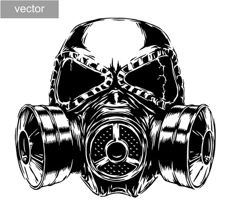 black mask: engrave isolated gas mask vector illustration sketch. linear art