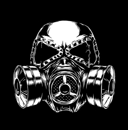 bio safety: engrave isolated gas mask illustration sketch. linear art Stock Photo