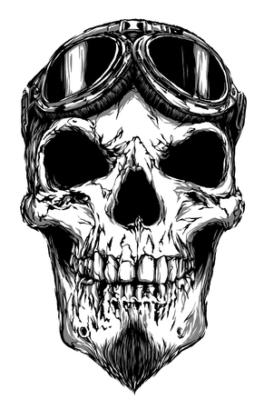 craquelure: engrave isolated skull with beard on glasses pilot illustration sketch. linear art
