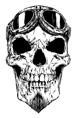 sombre: engrave isolated skull with beard on glasses pilot illustration sketch. linear art