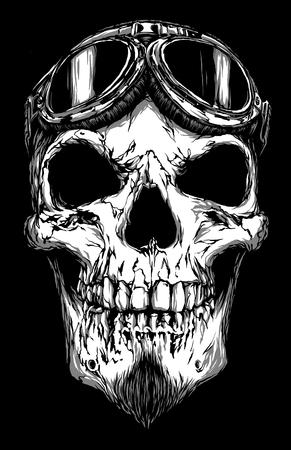 white face: engrave isolated skull with beard on glasses pilot illustration sketch. linear art