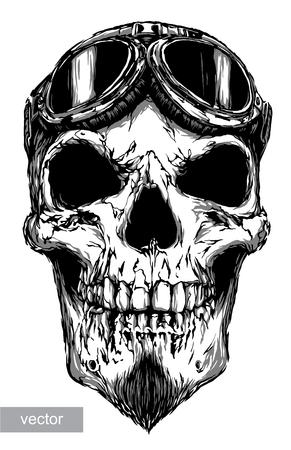 engrave isolated skull with beard on glasses pilot vector illustration sketch. linear art Illustration