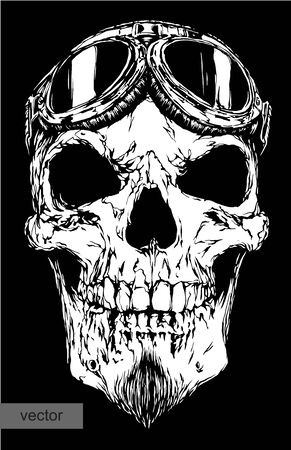 craquelure: engrave isolated skull with beard on glasses pilot vector illustration sketch. linear art Illustration