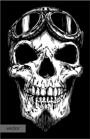 engrave isolated skull with beard on glasses pilot vector illustration sketch. linear art Stock Vector - 46500244