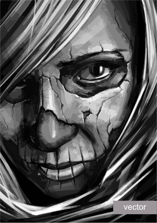 sombre: vector grayscale girl with skull art on face illustration