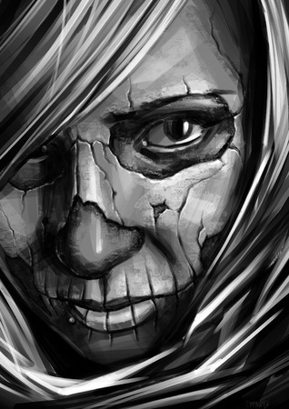 grayscale girl with skull art on face illustration