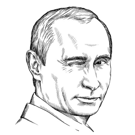 March 16 2015: illustration of President Vladimir Putin portrait. Engraving sketch