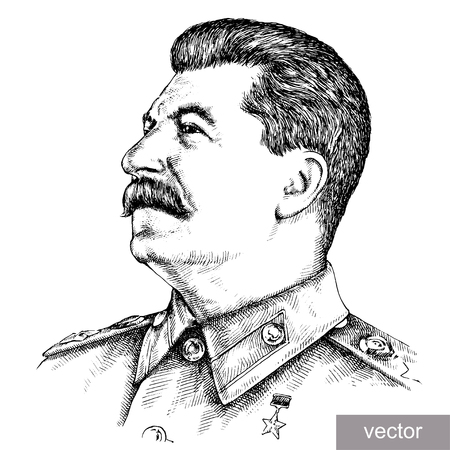 may 9: May 9 1945: vector illustration of Supreme Commander-in-Chief Joseph Stalin portrait. Engraving sketch