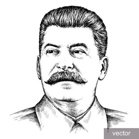 May 9 1945: vector illustration of Supreme Commander-in-Chief Joseph Stalin portrait. Engraving sketch