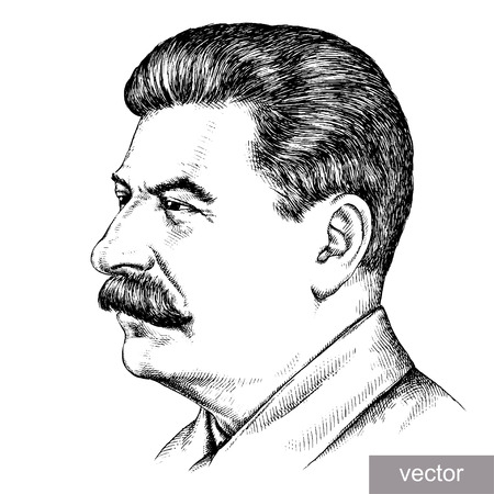 May 9 1945: vector illustration of Supreme Commander-in-Chief Joseph Stalin portrait. Engraving sketch