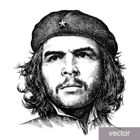 eroded: 22 June 1956: illustration of Comandante Ernesto Che Guevara portrait. Engraving sketch