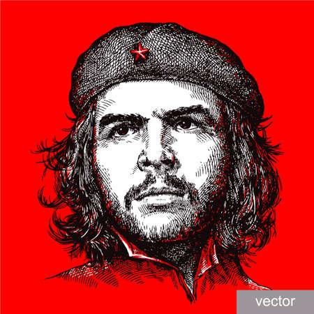 lijntekening: 22 juni 1956: illustratie van Comandante Ernesto Che Guevara portret. Graveren schets