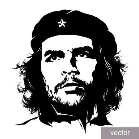 22 June 1956: illustration of Comandante Ernesto Che Guevara portrait. Engraving sketch