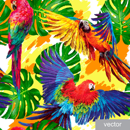 zoo: Seamless summer pattern with tropical parrots and monstera leafs. Exotic textile. Vector.