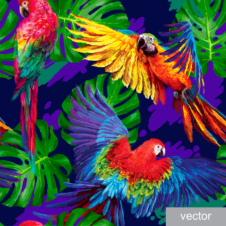 Seamless summer pattern with tropical parrots and monstera leafs. Exotic textile. Vector.