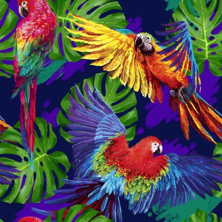 열대 앵무새와 몬스 테라의 잎 원활한 여름 패턴. 이국적인 섬유. 벡터.