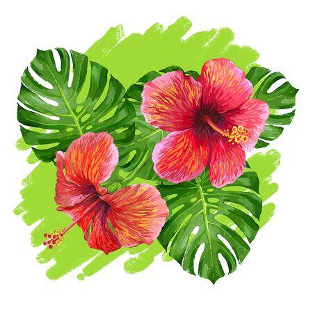 oiseau dessin: Composition tropicale avec des feuilles de monstera, paume feuille de bananier, fleur d'hibiscus.