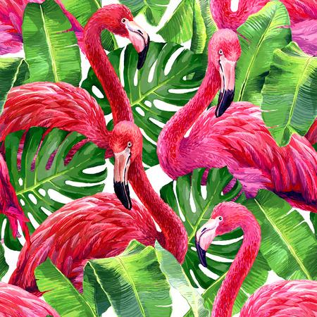 핑크 플라밍고, 몬스 테라의 잎, 팜 리프. 원활한 열대 여름 패턴. 이국적인 섬유.