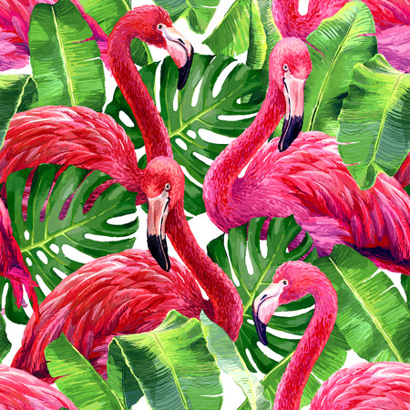 pink flamingo: Pink flamingo, monstera leafs, palm leaf. Seamless tropical summer pattern. Exotic textile.