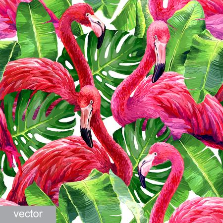 flamenco ave: flamenco rosado, hojas de monstera, hoja de palma. patrón sin fisuras de verano tropicales. textiles exóticos. Vector