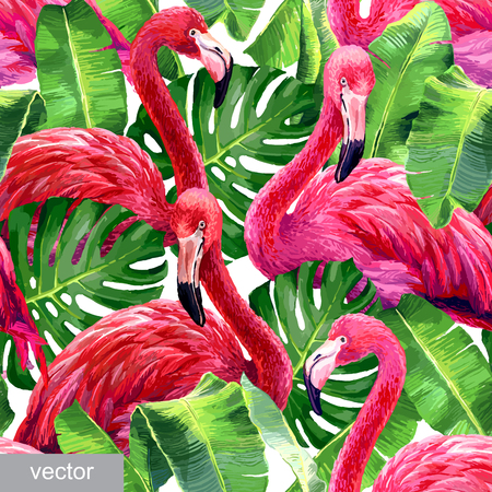 bird of paradise: Pink flamingo, monstera leafs, palm leaf. Seamless tropical summer pattern. Exotic textile. Vector